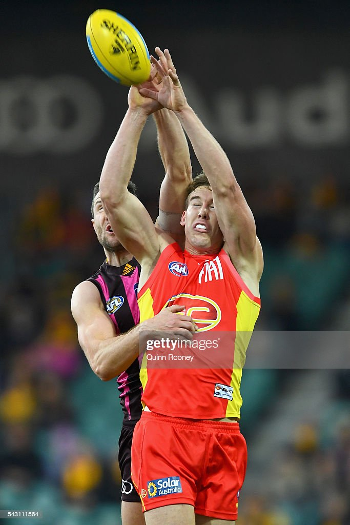 James Frawley of the Hawks attempts to spoil a mark by Tom Lynch of the Suns during the round 14 AFL match between the Hawthorn Hawks and the Gold Coast Suns at Aurora Stadium on June 26, 2016 in Launceston, Australia.