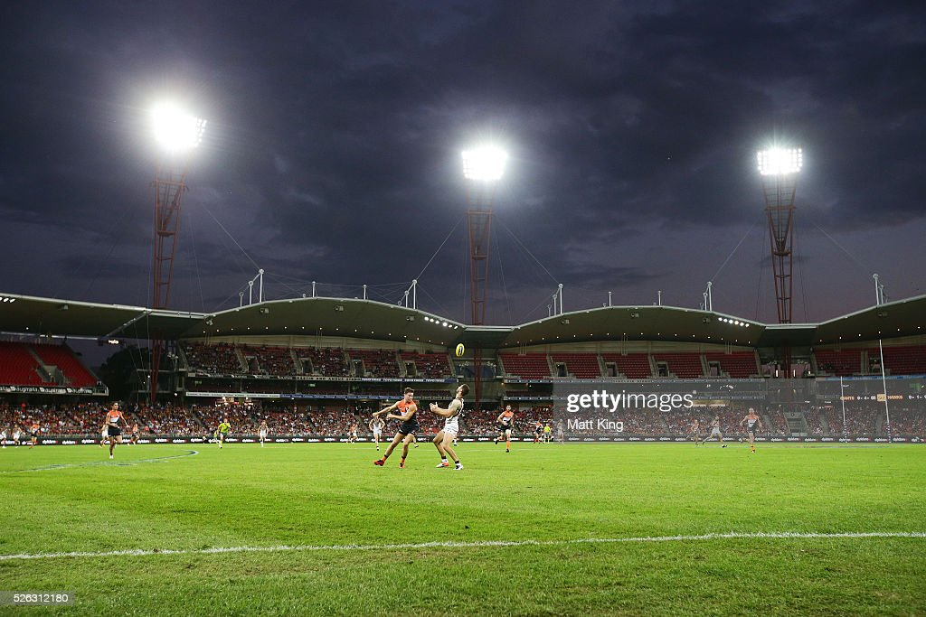 James Frawley of the Hawks competes for the ball against Toby Greene of the Giants during the round six AFL match between the Greater Western Sydney Giants and the Hawthorn Hawks at Spotless Stadium on April 30, 2016 in Sydney, Australia.