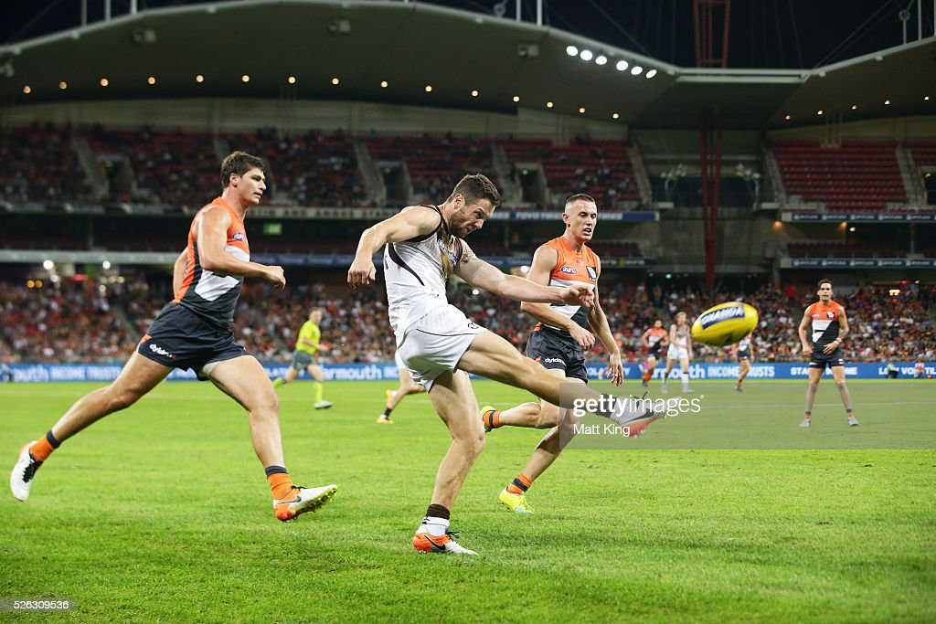 James Frawley of the Hawks kicks upfield during the round six AFL match between the Greater Western Sydney Giants and the Hawthorn Hawks at Spotless Stadium on April 30, 2016 in Sydney, Australia.