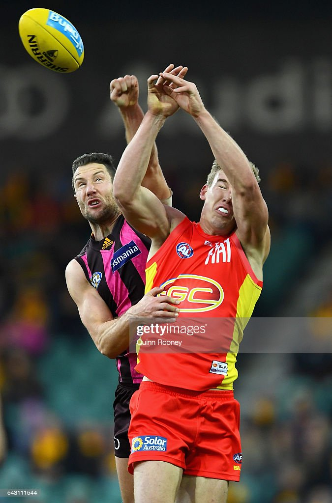 James Frawley of the Hawks spoils a mark by Tom Lynch of the Suns during the round 14 AFL match between the Hawthorn Hawks and the Gold Coast Suns at Aurora Stadium on June 26, 2016 in Launceston, Australia.