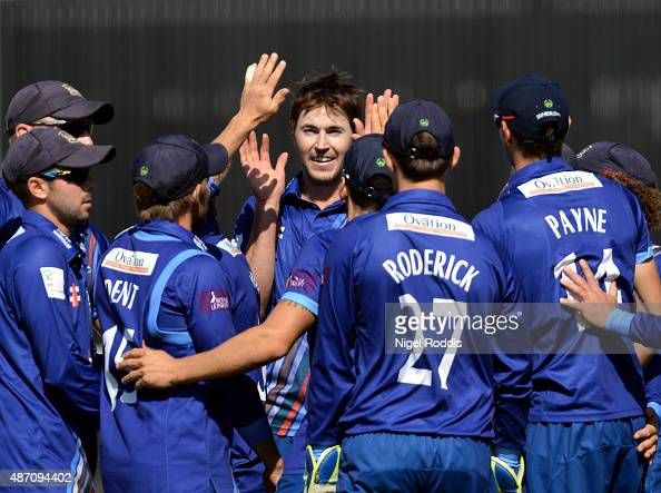 James Fuller of Gloucestershire celebrates with team mates after taking the wicket of Adam Lyth of Yorkshire Vikings in action during the Royal...