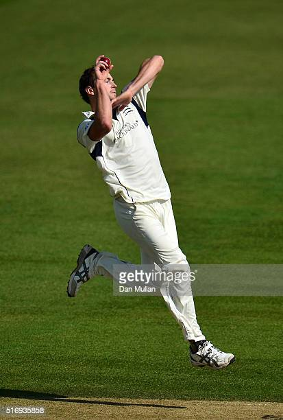 James Fuller of Middlesex bowls during day one of the preseason friendly between Surrey and Middlesex at The Kia Oval on March 22 2016 in London...