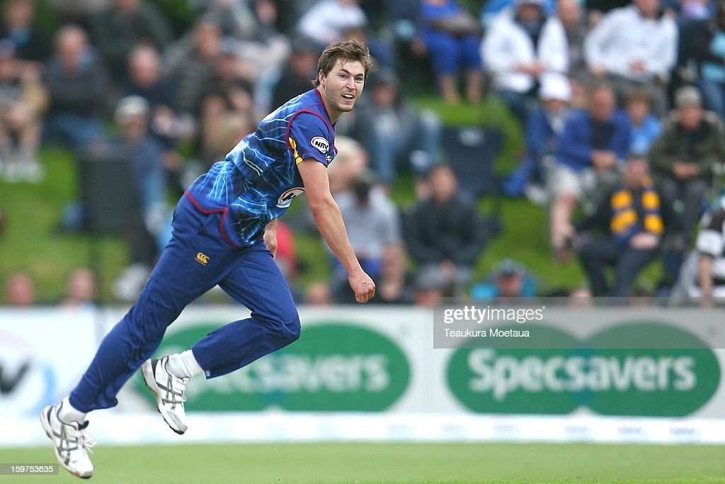 James Fuller of Otago bowls during the HRV T20 Final match between the Otago Volts and the Wellington Firebirds at University Oval on January 20, 2013 in Dunedin, New Zealand.