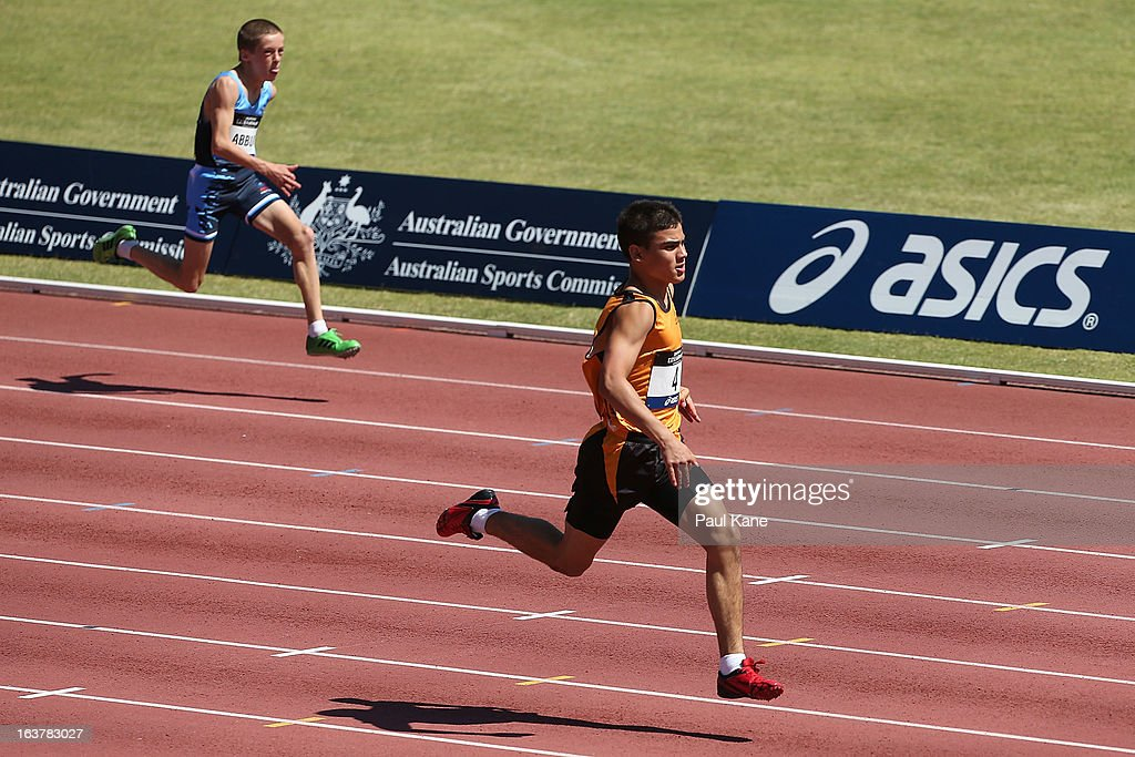 James Gallaugher of Western Australia competes in the boys u14 100 metre prelims during day five of the Australian Junior Championships at the WA Athletics Stadium on March 16, 2013 in Perth, Australia.
