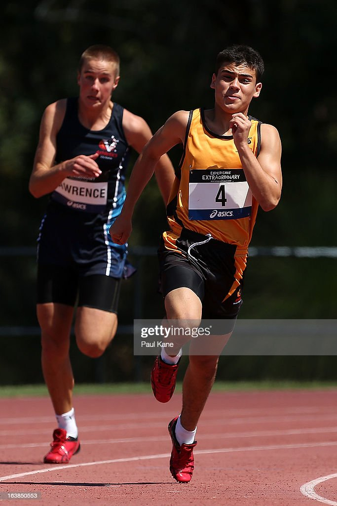 James Gallaugher of Western Australia competes in the mens mens u14 200 metre final during day six of the Australian Junior Championships at the WA Athletics Stadium on March 17, 2013 in Perth, Australia.