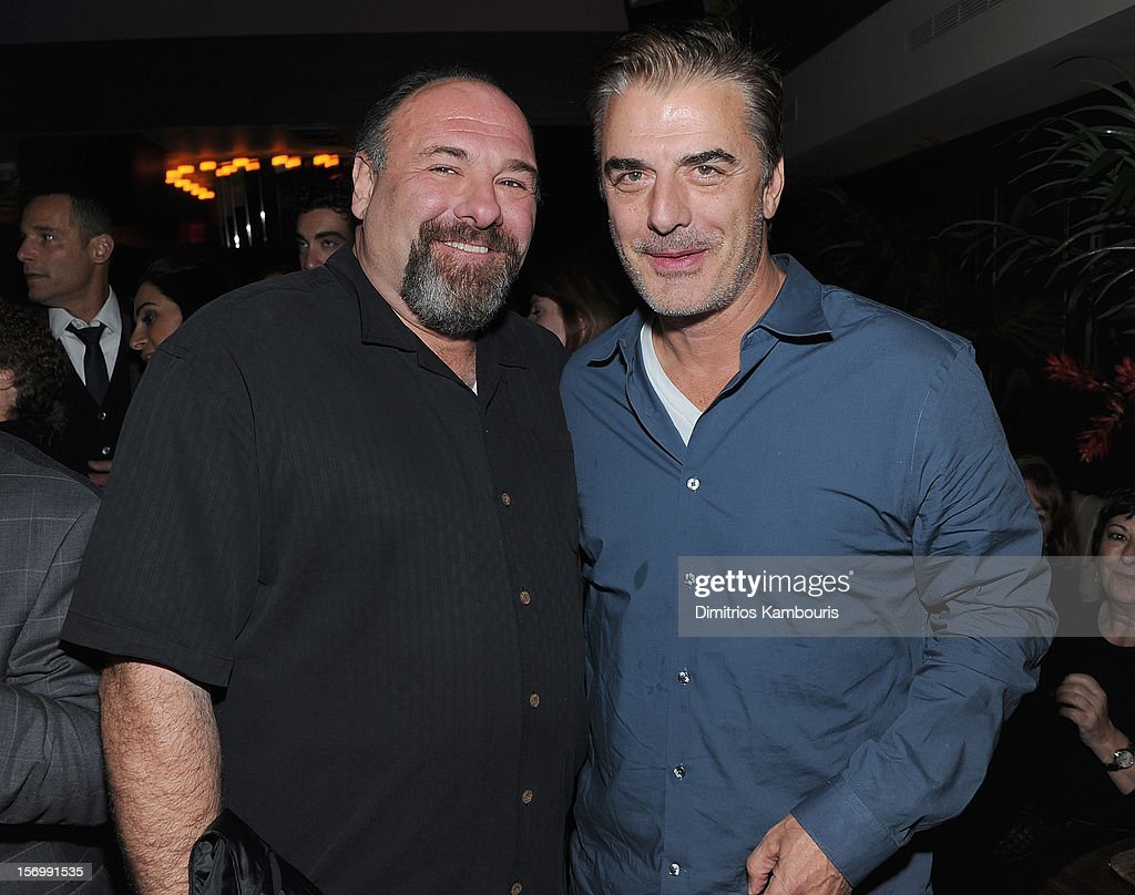James Gandolfini and Chris Noth attend The Cinema Society With Men's Health And DeLeon Tequila Host A Screening Of The Weinstein Company's 'Killing Them Softly' After Party on November 26, 2012 in New York City.