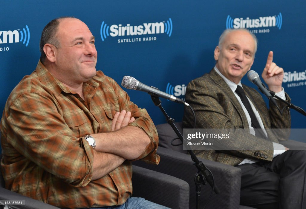 James Gandolfini (L) and David Chase attend SiriusXM 'Not Fade Away' Town Hall with David Chase, James Gandolfini and Steven Van Zandt and host Terence Winter on December 17, 2012 in New York, United States.
