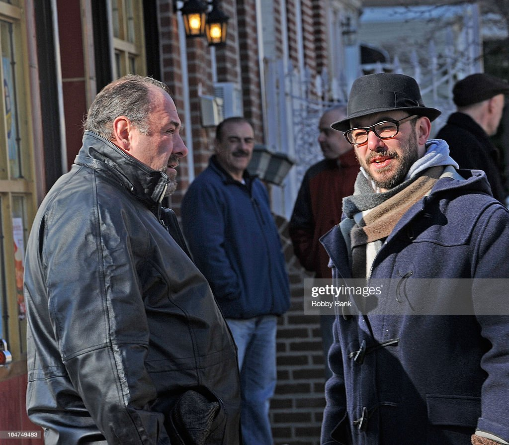 <a gi-track='captionPersonalityLinkClicked' href=/galleries/search?phrase=James+Gandolfini&family=editorial&specificpeople=171463 ng-click='$event.stopPropagation()'>James Gandolfini</a> and director <a gi-track='captionPersonalityLinkClicked' href=/galleries/search?phrase=Michael+Roskam&family=editorial&specificpeople=8776723 ng-click='$event.stopPropagation()'>Michael Roskam</a> filming on location for 'Animal Rescue' on March 27, 2013 in the Brooklyn borough of New York City.