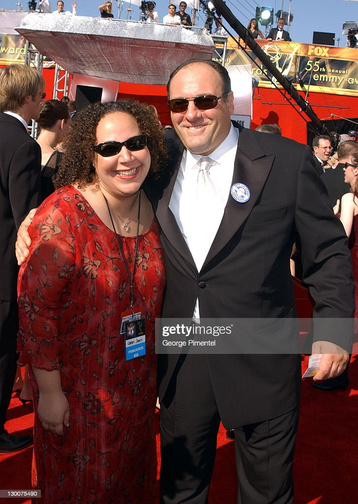 James Gandolfini and guest during The 55th Annual Primetime Emmy Awards - Access Hollywood Red Carpet at The Shrine Theater in Los Angeles, California, United States.
