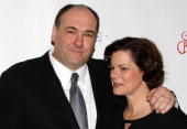 James Gandolfini and Marcia Gay Harden attend the after party for the Broadway opening of 'God of Carnage' at espace on March 22 2009 in New York City