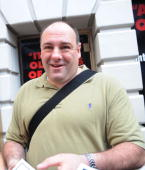 James Gandolfini appears outside the stage doors of 'God of Carnage' on the Streets of Manhattan on May 31 2009 in New York City