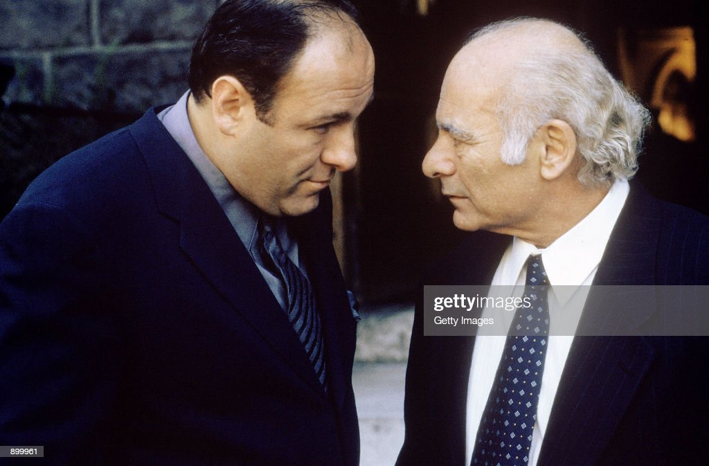 James Gandolfini as Tony Soprano and Burt Young as Bobby 'Bacala' Baccalieri Sr act in a scene in HBO's hit television series 'The Sopranos'