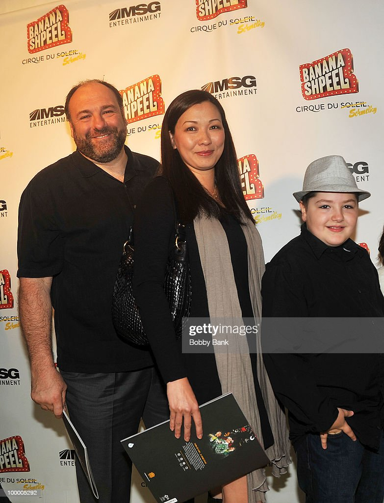 James Gandolfini, Deborah Gandolfini and Michael Gandolfini attend the opening night of Cirque du Soleil's 'Banana Shpeel' at the Beacon Theatre on May 19, 2010 in New York City.