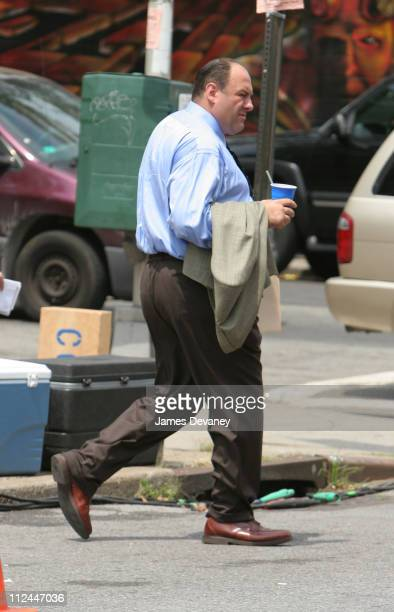 James Gandolfini during James Gandolfini and Edie Falco on Location for 'The Sopranos' July 29 2005 at St Rita Church in New York City New York...