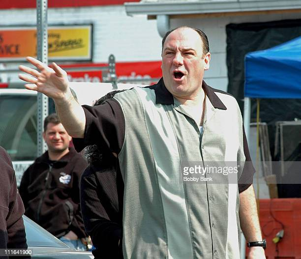 James Gandolfini during 'The Sopranos' On Location at Holsten's Ice Cream Parlor March 22 2007 at Holsten's Old Fashion Ice Cream Parlor in...