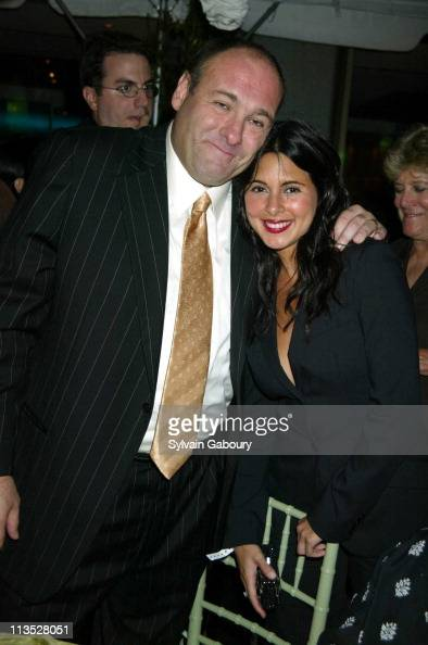 James Gandolfini JamieLynn DiScala during Party Following the Premiere of 'The Sopranos' at Rockefeller Plaza in New York New York United States