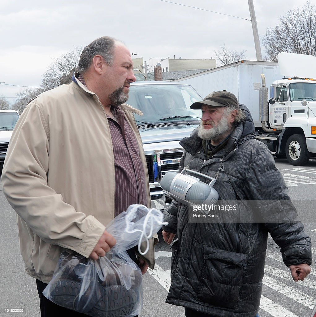<a gi-track='captionPersonalityLinkClicked' href=/galleries/search?phrase=James+Gandolfini&family=editorial&specificpeople=171463 ng-click='$event.stopPropagation()'>James Gandolfini</a>i and Craig 'Radioman' Castaldo on location for 'Animal Rescue' on March 28, 2013 in the Brooklyn borough of New York City.