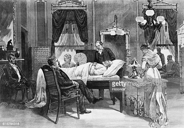 James Garfield lies on his death bed Several men and one woman sit by his bed Garfield was the 20th president of the United States He was shot on...