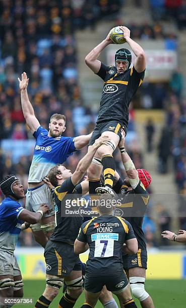 James Gaskell of Wasps wins the lineout during the Aviva Premiership match between Wasps and Saracens at The Ricoh Arena on December 27 2015 in...