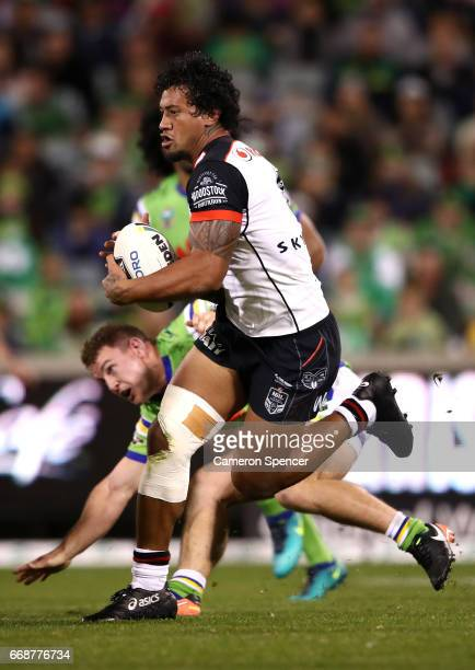 James Gavet of the Warriors runs the ball during the round seven NRL match between the Canberra Raiders and the New Zealand Warriors at GIO Stadium...