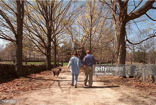James Geiger and his wife Caroline walk down the road leading into Appleton Farms in Ipswich which they have run for the past 20 years The farm is...