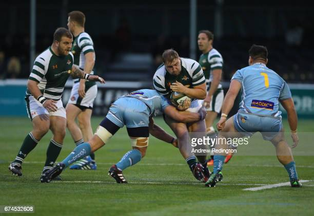 James Gibbons of Ealing Trailfinders takes on the Yorkshire Carnegie defence during the Greene King IPA Championship Semi Final between Ealing...