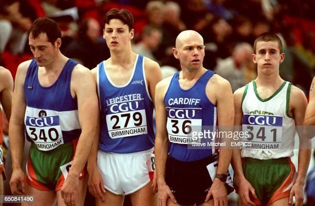 LR James Gibbons Scott Taylor Martin Bell and Robert Hefferan prepare themselves for the start of the men's 3k walk