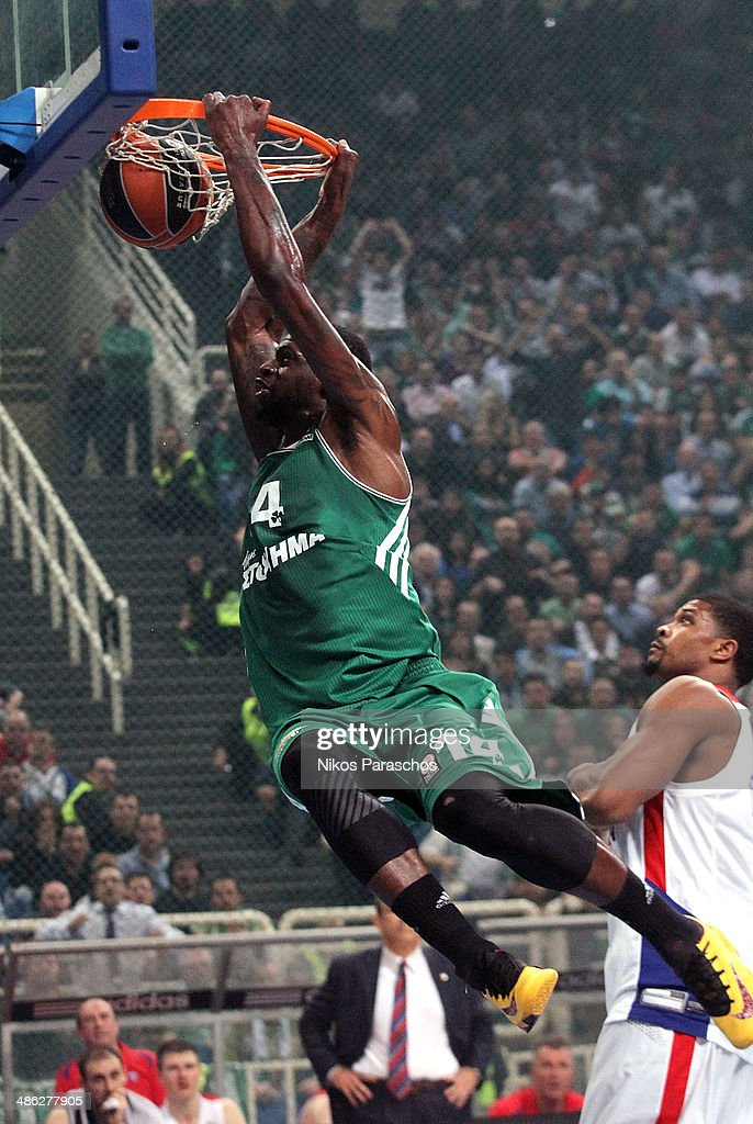 <a gi-track='captionPersonalityLinkClicked' href=/galleries/search?phrase=James+Gist&family=editorial&specificpeople=822218 ng-click='$event.stopPropagation()'>James Gist</a>, #14 of Panathinaikos Athens in action during the Turkish Airlines Euroleague Basketball Play Off Game 4 between Panathinaikos Athens v CSKA Moscow at Olimpic Sports Center on April 23, 2014 in Athens, Greece.