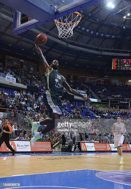 James Gist #15 of Unicaja Malaga in action during the 20122013 Turkish Airlines Euroleague Regular Season Game Day 3 between Unicaja Malaga v...