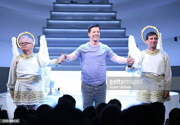 James Gleason Sean Hayes and David Josefsberg during the Broadway opening night performance curtain call for 'An Act Of God' at the Booth Theatre on...