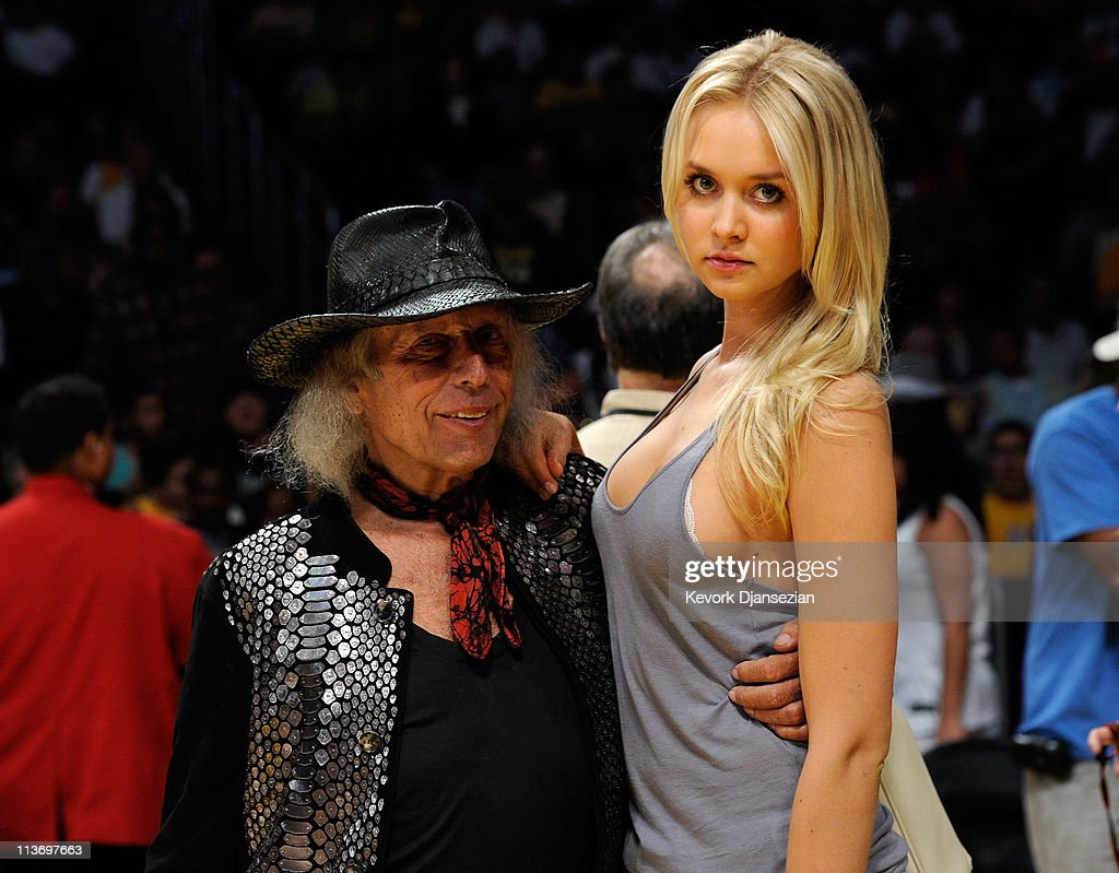 James Goldstein and Danish model Amalie Wichmann pose before Game Two of the Western Conference Semifinals in the 2011 NBA Playoffs between the Los Angeles Lakers and the Dallas Mavericks at Staples Center on May 4, 2011 in Los Angeles, California.