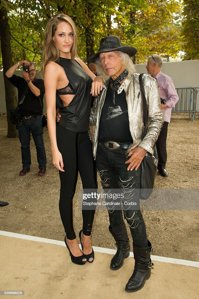James Goldstein and the Model Vanja Josic attends Elie Saab show, as part of the Paris Fashion Week Womenswear Spring/Summer 2014, in Paris.