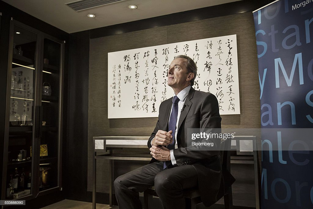 James Gorman, chief executive officer of Morgan Stanley, sits ahead of a Bloomberg Television interview on the sidelines of the Morgan Stanley China Summit in Beijing, China, on Tuesday, May 24, 2016. Gorman sounded a positive note about the Wall Street bank's business, telling investors to 'stay tuned' for better performance as markets recover. Photographer: Qilai Shen/Bloomberg via Getty Images