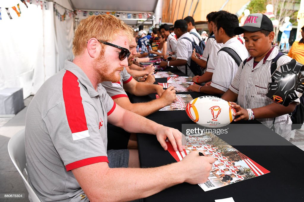 James Graham of England signs autographs during an Australia Kangaroos and England Signing Session at Reddacliff Place on November 28, 2017 in Brisbane, Australia.