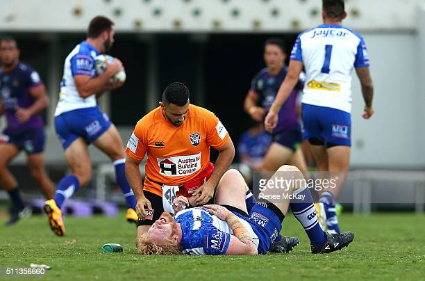 James Graham of the Bulldogs is injured during the NRL Trial match between the Canterbury Bulldogs and the Melbourne Storm at Belmore Sports Ground...