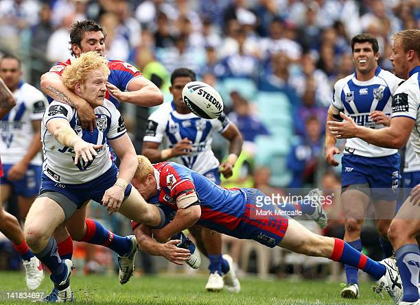 James Graham of the Bulldogs is tackled during the round four NRL match between the CanterburyBankstown Bulldogs and the Newcastle Knights at ANZ...