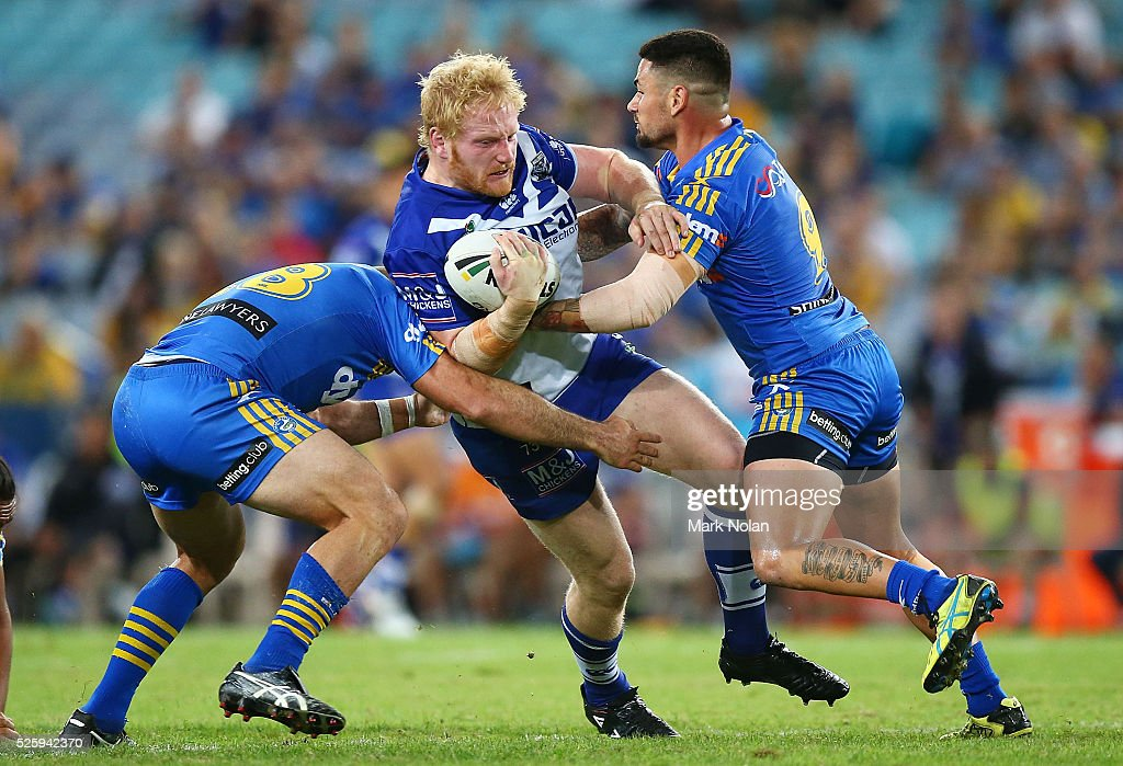 James Graham of the Bulldogs is tackled during the round nine NRL match between the Parramatta Eels and the Canterbury Bulldogs at ANZ Stadium on April 29, 2016 in Sydney, Australia.