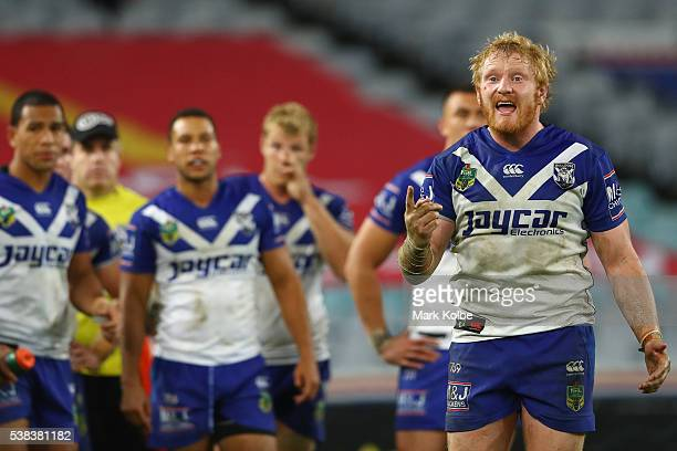 James Graham of the Bulldogs looks dejected after a Sharks try during the round 13 NRL match between the Canterbury Bulldogs and the Cronulla Sharks...