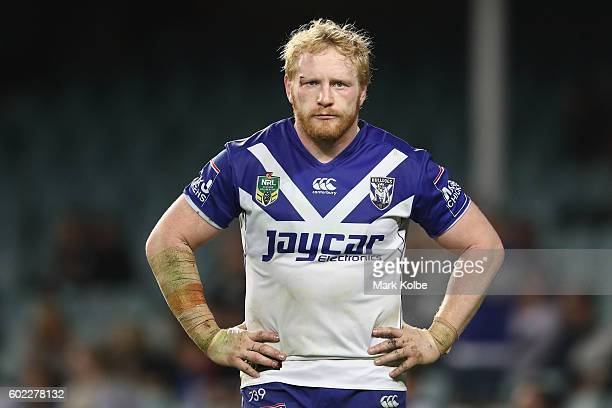James Graham of the Bulldogs looks dejected during the NRL Elimination Final match between the Penrith Panthers and the Canterbury Bulldogs at...