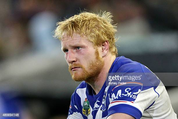 James Graham of the Bulldogs looks on during the round 25 NRL match between the Newcastle Knights and the Canterbury Bulldogs at Hunter Stadium on...