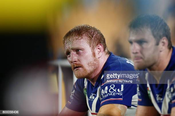 James Graham of the Bulldogs looks on from the bench during the round 16 NRL match between the New Zealand Warriors and the Canterbury Bulldogs at Mt...