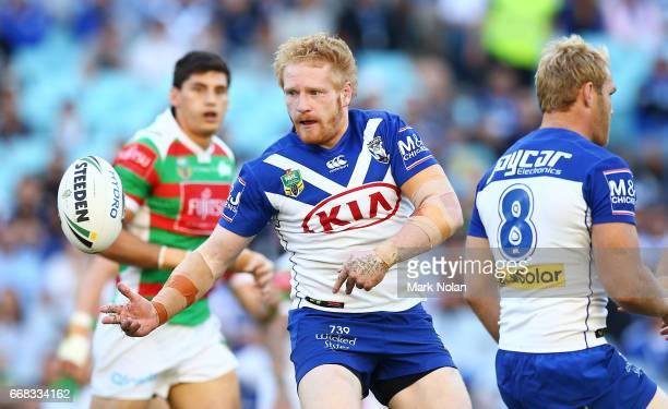 James Graham of the Bulldogs passes during the round seven NRL match between the Canterbury Bulldogs and the South Sydney Rabbitohs at ANZ Stadium on...