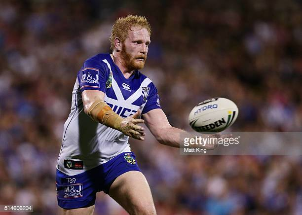 James Graham of the Bulldogs passes during the round two NRL match between the Penrith Panthers and the Canterbury Bulldogs at Pepper Stadium on...