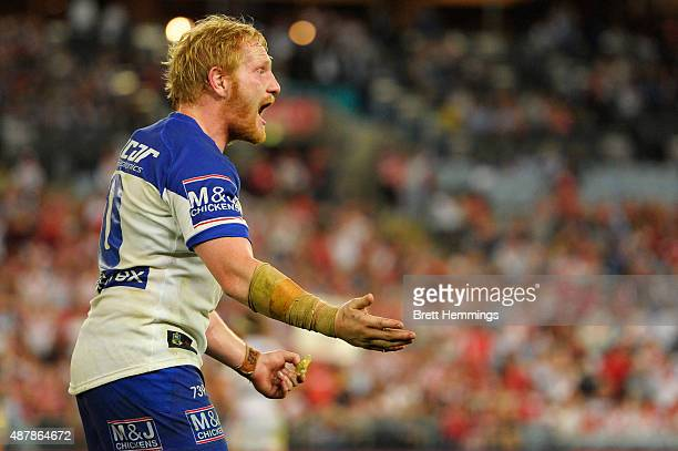 James Graham of the Bulldogs reacts during the NRL Elimination Final match between the Canterbury Bulldogs and the St George Illawarra Dragons at ANZ...