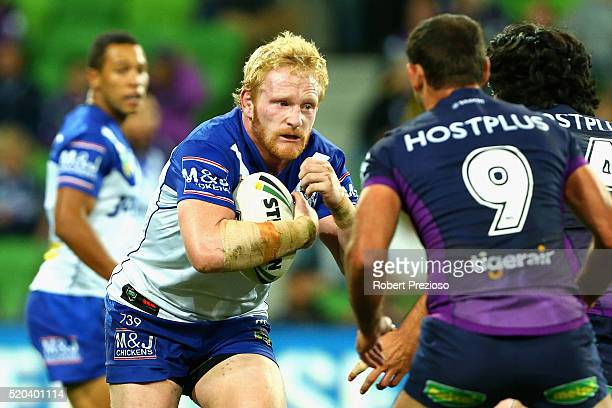 James Graham of the Bulldogs runs the ball during the round six NRL match between the Melbourne Storm and the Canterbury Bulldogs at AAMI Park on...
