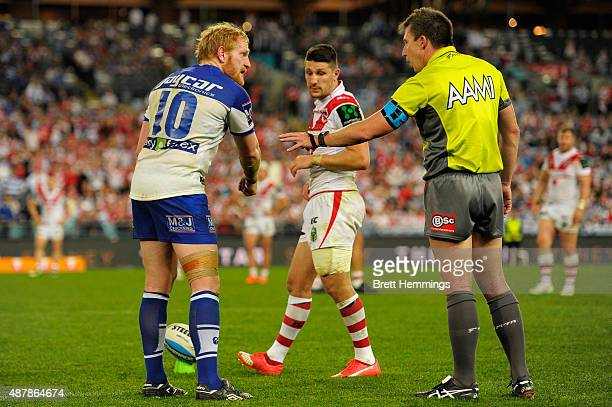 James Graham of the Bulldogs speaks with the referee during the NRL Elimination Final match between the Canterbury Bulldogs and the St George...