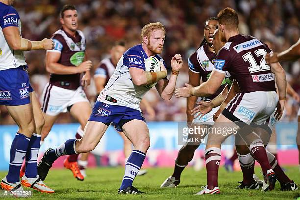 James Graham of the Bulldogs takes on the defence during the round one NRL match between the Manly Warringah Sea Eagles and the Canterbury Bulldogs...