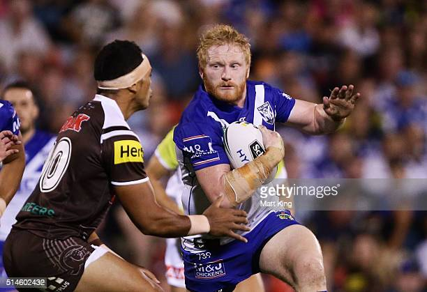 James Graham of the Bulldogs takes on the defence during the round two NRL match between the Penrith Panthers and the Canterbury Bulldogs at Pepper...