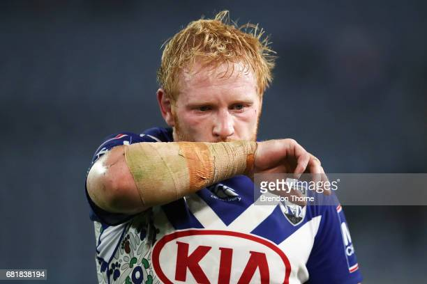 James Graham of the Bulldogs walks off the field during the round 10 NRL match between the Canterbury Bulldogs and the North Queensland Cowboys at...