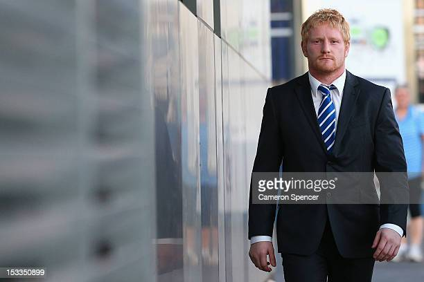 James Graham of the Canterbury Bulldogs arrives at the NRL judiciary at NRL Headquarters on October 4 2012 in Sydney Australia Graham has been...